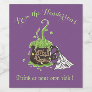 Witch's brew modern purple personalized wine label