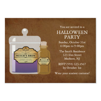 Witch's Brew & Wolfsbane Halloween Party 13 Cm X 18 Cm Invitation Card