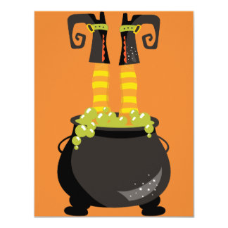Witch's Feet Sticking out of a bubbling cauldron Card