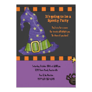 Witch's Hat Halloween Party Invitation
