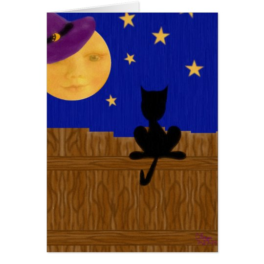 Witch's Moon Halloween Birthday Greeting Card