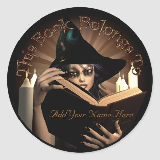 Witchy Bookplate Classic Round Sticker