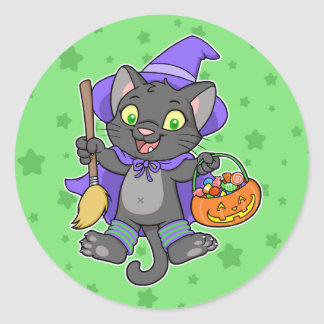 Witchy Halloween cat Classic Round Sticker