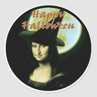 Witchy Woman Mona Lisa Halloween Classic Round Sticker