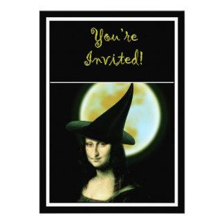 Witchy Woman Mona Lisa Halloween Custom Invitations