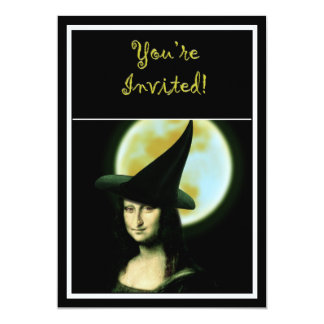 Witchy Woman Mona Lisa Halloween 5x7 Paper Invitation Card