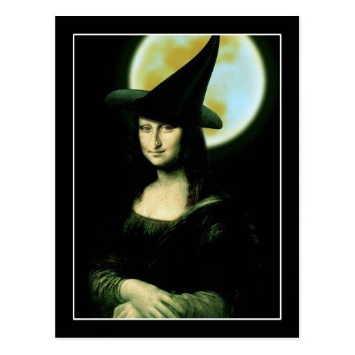 Witchy Woman Mona Lisa Halloween Post Card