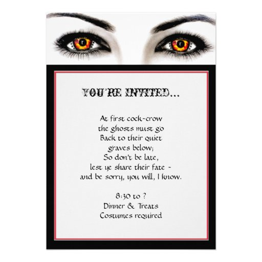 Witchy Woman Wicked Eyes Halloween Party Announcement
