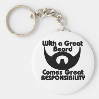 With a great beard comes great resposibility basic round button key ring