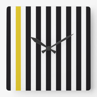 With A Yellow Stripe Square Wall Clock
