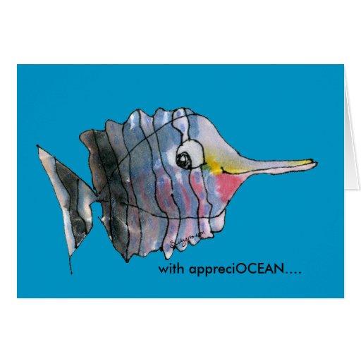 With Appreciocean Blue Cartoon Fish Thank You Card Zazzle
