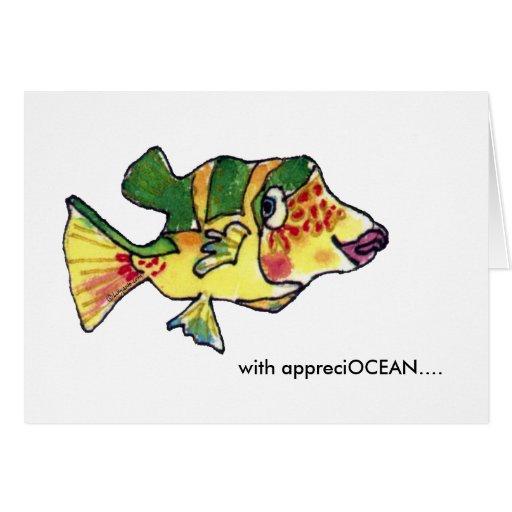 With appreciOCEAN Cute Boxfish Thank You card