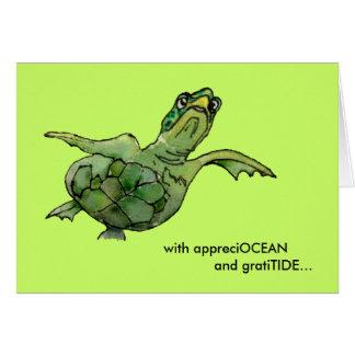 With appreciOCEAN green sea turtle thank you card