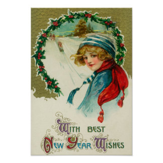 With Best New Year Wishes Sledding Scene Poster