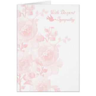 With Deepest Sympathy In Gentle Pink With Flowers Greeting Card