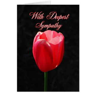 With Deepest Sympathy Red Tulip Greeting Card