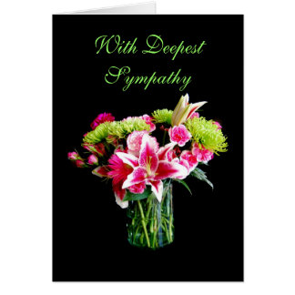 With Deepest Sympathy, Stargazer Lily Bouquet Card
