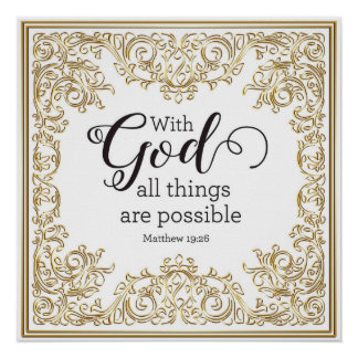 With God All Things are Possible, Gold Art Print