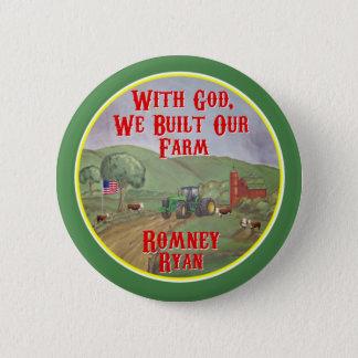 With God, We Built Our Farm Romney Ryan 6 Cm Round Badge