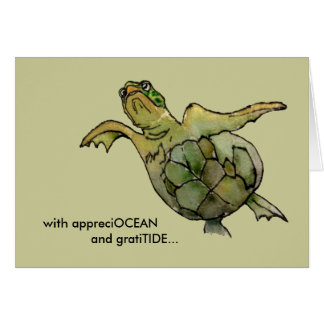 With GratiTIDE tan green sea turtle thank you card