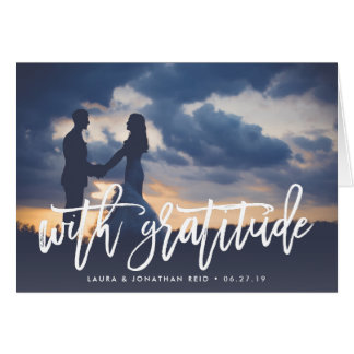 With Gratitude   Wedding Photo Thank You Card