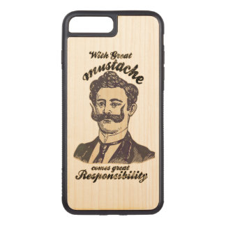 With great mustache, comes great responsibility carved iPhone 8 plus/7 plus case
