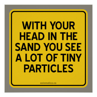 WITH HEAD IN SAND YOU SEE A LOT OF TINY PARTICLES POSTER