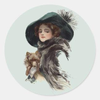 With Her Dog Classic Round Sticker