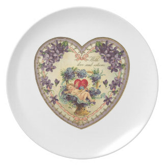 With Love and Affection Purple Floral Valentine He Dinner Plate