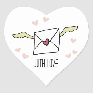 """With Love"" flying envelope with wings and hearts Heart Sticker"