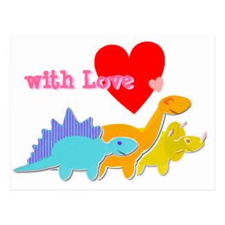 with Love Heart Cute Dinosaurs Postcard