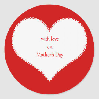 With Love on Mother's Day Round Stickers