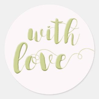 With Love, Sage Script Typography Round Sticker