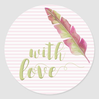 With Love, Sage Script Typography Striped Sticker