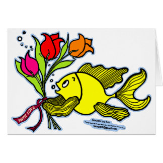 With Love, Sparky the fish with flowers Card