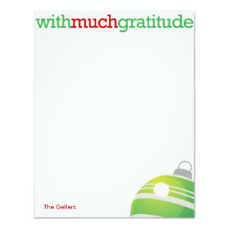 With much gratitude xmas ornament thank you card 11 cm x 14 cm invitation card
