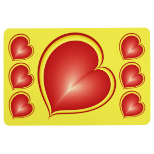 With much Love Red Yellow Modern Hearts Pattern Floor Mat