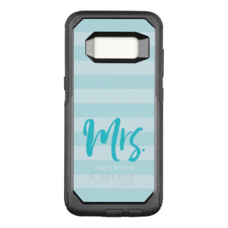 with Name Mrs Preppy Blue Stripes OtterBox Commuter Samsung Galaxy S8 Case