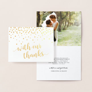 With Our Thanks Wedding Photo Gold Foil Thank You Foil Card