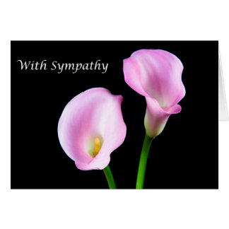 With Sympathy Pink Calla Lillies Greeting Card