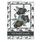 With Sympathy Stylish Black And Gold Poppies Card