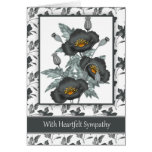 With Sympathy Stylish Black And Gold Poppies Greeting Card
