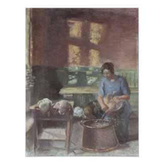 With the chickens by Anna Ancher Poster