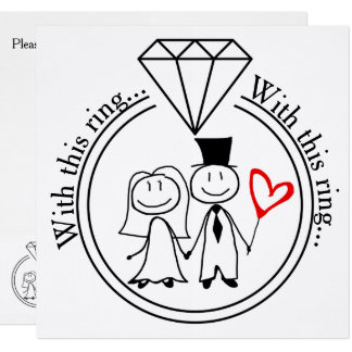 With This Ring Casual Stick Figure Couple Wedding Card