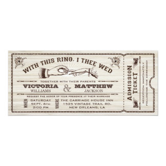 With This Ring, Vintage Wedding Ticket Invitation