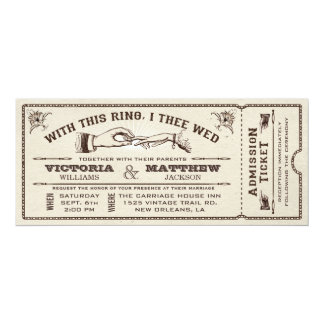 "With This Ring, Vintage Wedding Ticket Invitation 4"" X 9.25"" Invitation Card"