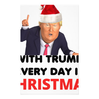 with trump every day  white customized stationery