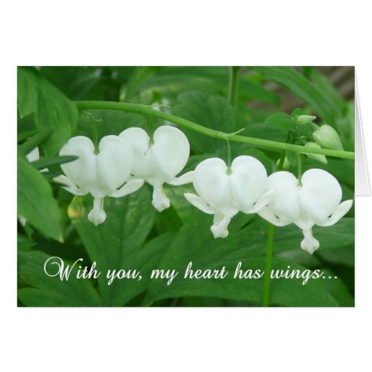 With you my heart has wings!-Floral Blank card