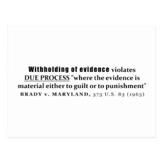 Withholding of Evidence Brady v Maryland Case law Postcard