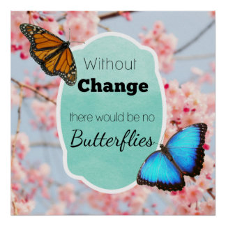 Without Change No Butterflies Cherry Blossoms Poster